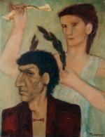 Татьяна Корнфельд. Поэт и Муза. Масло, картон. (51 Х 39 см) 1985