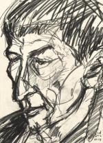 Валерий Корнблит (Сонин). М. Генделев спустя…лет. Карандаш на бумаге. 2003