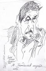 Ян Раухваргер. Портрет М. Генделева. Пастель на бумаге. (50 Х 65 см) 2004
